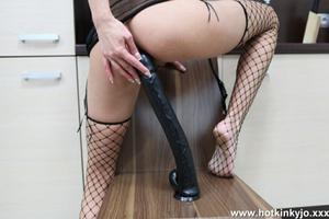 Extremely long dildo anal